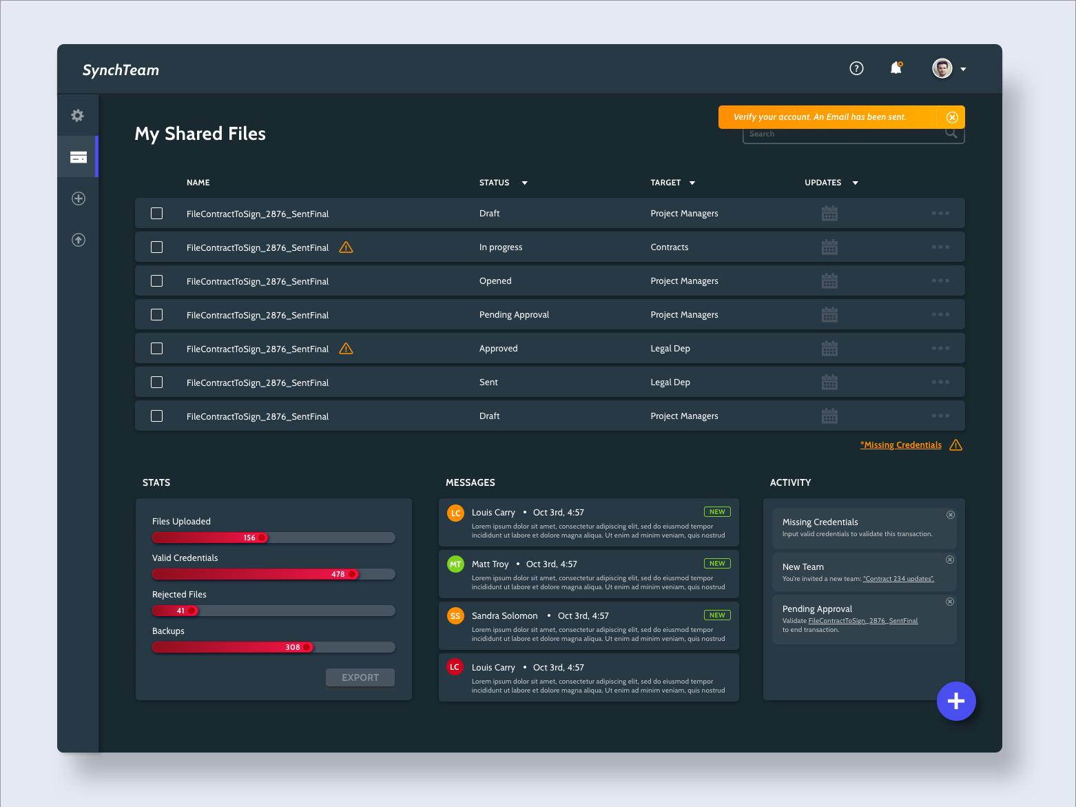 Synch Dashboard collaborate files dark dashboard ux ui design