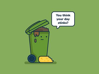 Mondays... dribbble invite monday blues wheelie bin flat design smelly monday trash rubbish bin cartoon illustration