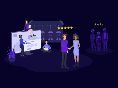 Client Hanbook - Choosing The Right Agency team selection handshake client charachter design business agency purple medium illustrator illustration design character article