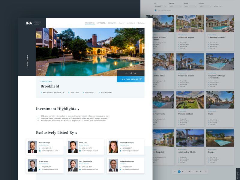 Institutional Property Advisors - Property Detail Page property list real estate listing website design blue search research redesign real estate branding real estate agency real estate agent real estate properties detail page advisor property institutional