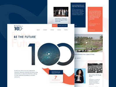 American University in Cairo: AUC100 memories memory events stories post history centennial arabic blue future landing promotional countdown orange shape 100 anniversary cairo university desktop