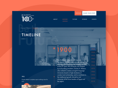American University in Cairo: AUC100 - Timeline story organic shape arabic memories history interactive timeline website anniversary university