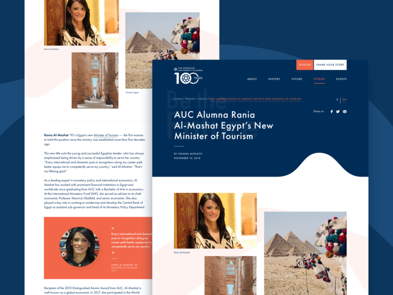 American University in Cairo: AUC100 - Editorial arabic desktop interfaces web faces memory quote article stories editorial anniversary university