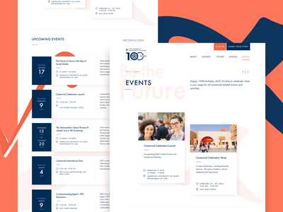 American University in Cairo: AUC100 - Events future anniversary celebrate meeting ux  ui archive event history desktop