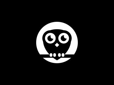 Owl white black moon owl