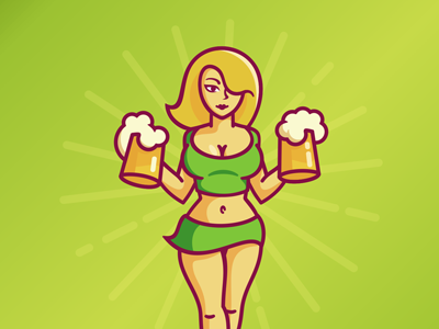 Waiter pin-up sexy beer pub girl
