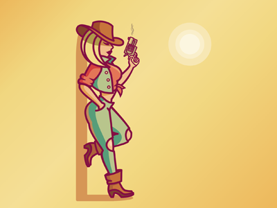 Cowgirl wild west pin-up sexy gun girl cowgirl