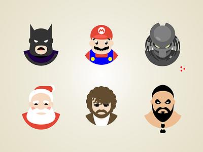 Flat Avatars tyrion mario santa predator khal batman character icon avatar flat