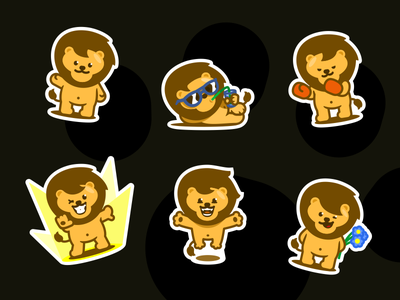 Lion Stickers anymal funny sticker lion