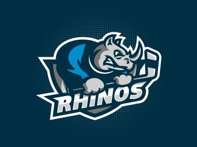 Rhinos hockey emblem logo sport rhino