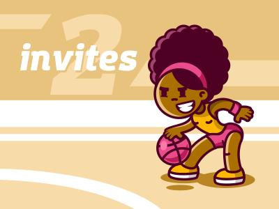 2 Invites dribbble ball girl basketball invite