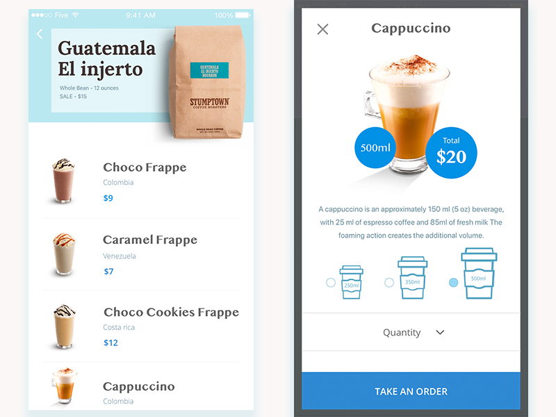 Coffee card microinteraction animation principle ux ui shop product iphone ios caffee e-commerce app