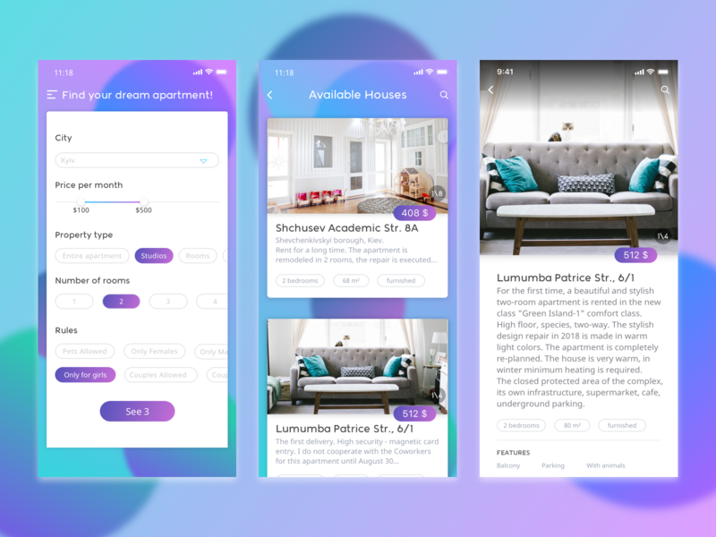 Rental App list page filters gradient design rental house ui mobile menu iphone ios design app
