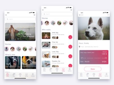 Animal Shelter App shelter animal pets mobile ios menu design app ux ui