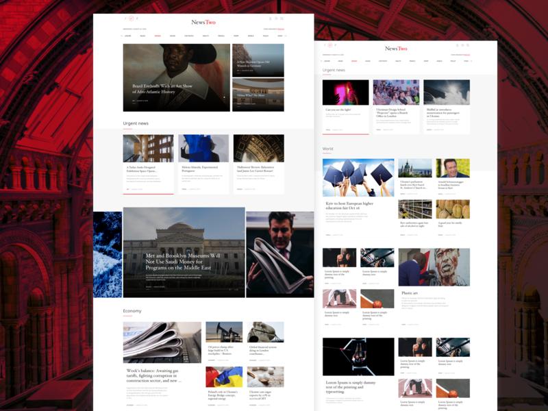 News Aggregator Web Version landing  page grid typography article web news logo design ux ui