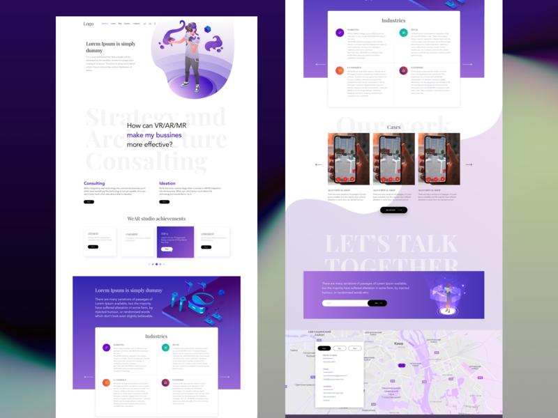 VR/AR Agency agency ar vr web typography branding vector illustration design ux ui