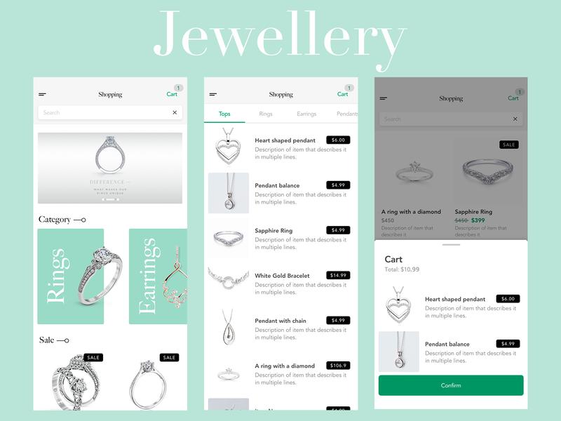Jewellery e-commerce app e-commerce typography ecommerce mobile menu app animation design ux ui