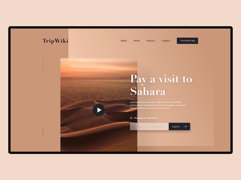 TripWiki gradient typography menu wiki trip travel animation app design ux ui