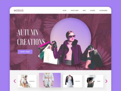 Modus Website shopping uxdesign uidesigns uiux uidesign desktop website branding fashion