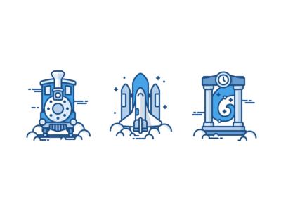 Trainspacetime time travel monochrome lineart stars clouds clock magic icon portal warp spaceship train