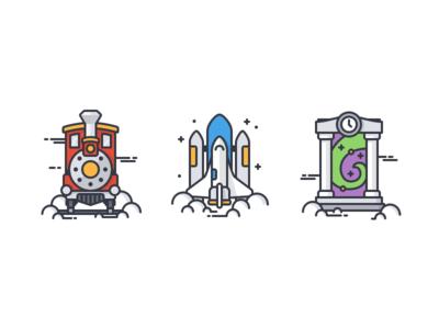 Trainspacetime (Color) time travel clouds portal magic warp train clock stars spaceship icon lineart