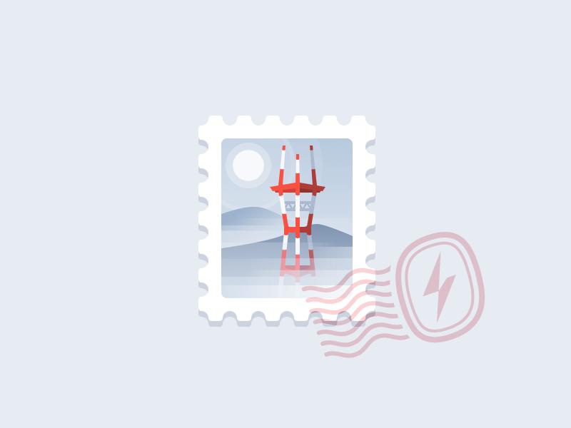 Sutro Tower san francisco landmarks california stamp fog illustration sutro