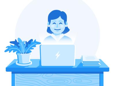 Create Content wood grain blue fern plant laptop illustration monochrome desk