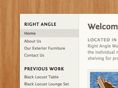 Right Angle Re-Redesign right angle woodworks wood woodworking photoshop fontin sans portfolio website