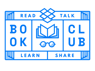 Dropbox Design Book Club glasses dropbox emblem glyph outline halftone books book club