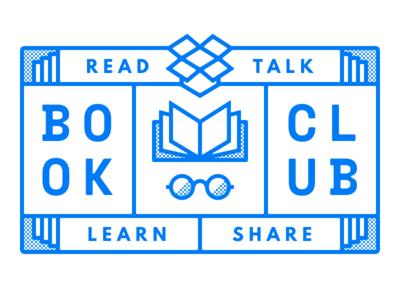 Dropbox Design Book Club glasses dropbox emblem glyph outline halftone books book club