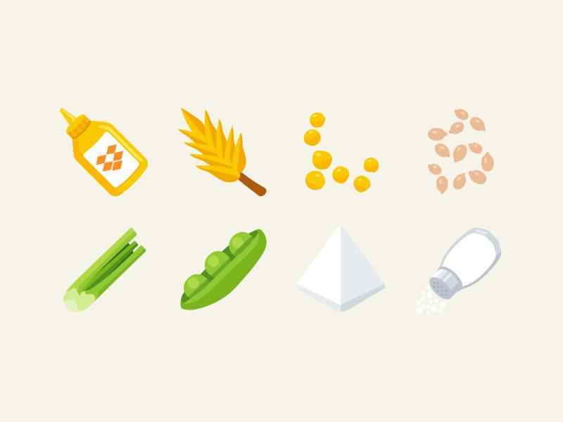 Allergen Icons salt soy celery sesame lupin gluten mustard emoji emojione icons allergens
