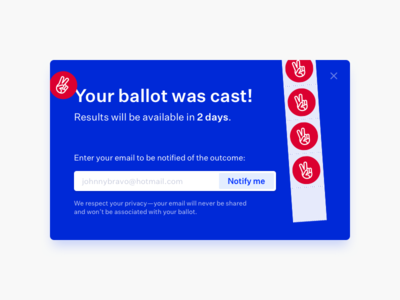 Your ballot was cast! ✌️ stickers interstitial modal untitled sans voting altvote