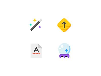 ✨⬆️🅰️🔮 swiftype crystal ball spellcheck arrow icons illustration magic wand