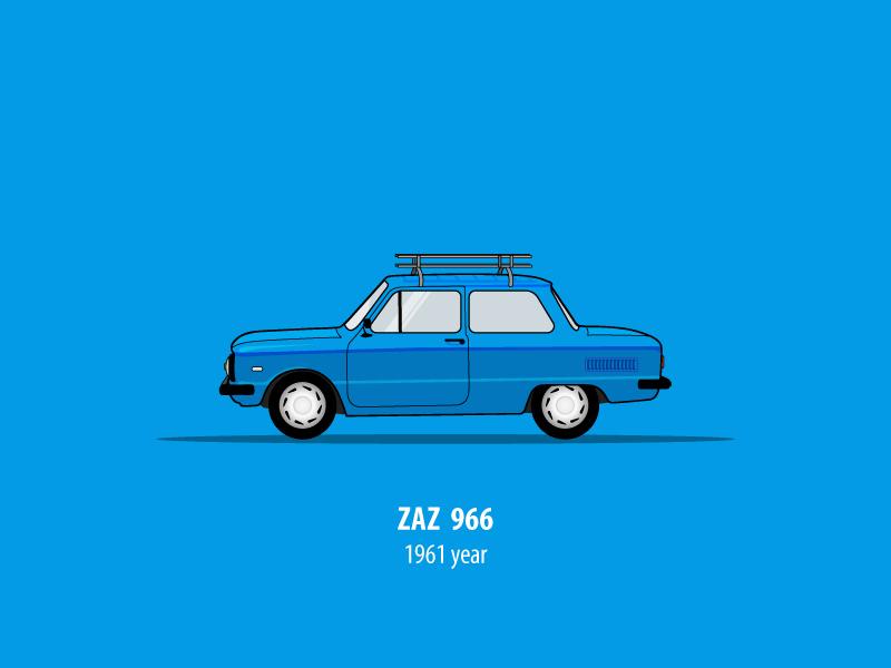 Zaz 966 old car illustration russia auto design vehicle sideview vector illustrator car car side