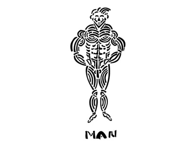 Illustration of a Man muscular tribal figure man