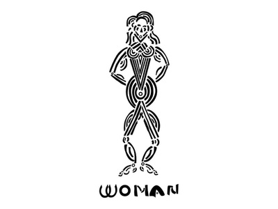 Illustration of a Woman feminine tribal figure woman