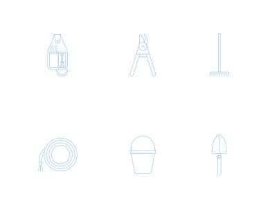 Gardening Tools Icons pruners rake bucket trowel hose graphic designer plants tools garden gardening icons
