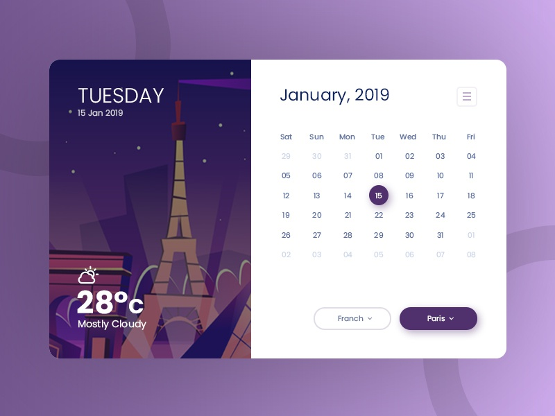 Calendar With Weather creative clean illustration animatio temperature ui concept ux ui web app calendar 2019 calendar app calendar report date year month website app web weather