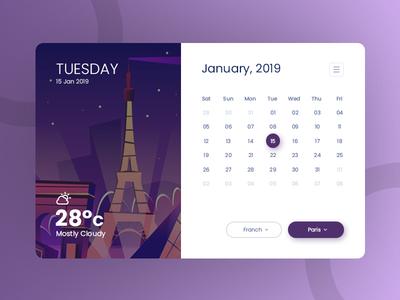 Calendar With Weather creative clean illustration animatio temperature ui concept ux ui web app calendar 2019 calendar app calendar report date year month website app web weather