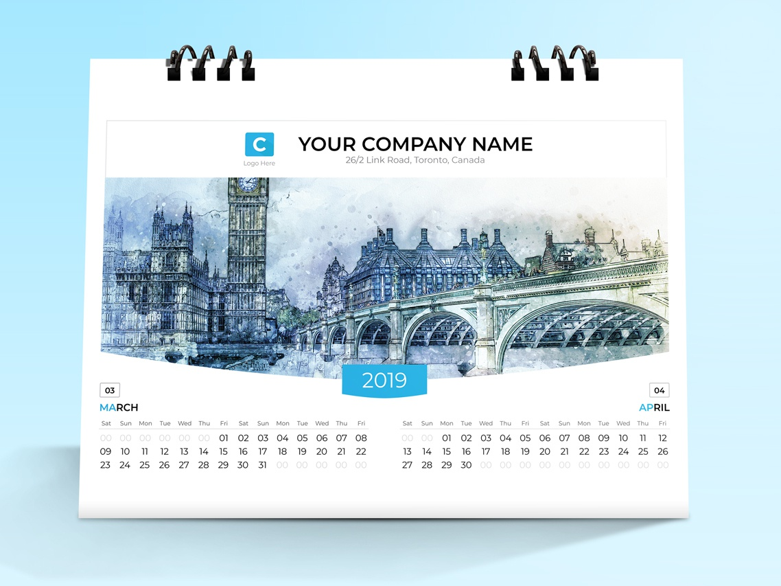 Desk Calendar 2019 calendar 2019 print note new year month monday desk calendar designer design day date cover corporate clean calendar business branding brand 7 page 12 month