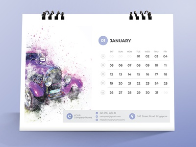 Clean Desk Calendar 2019 calender 2019 new year month monday friday event desk calendar design day date cover corporate clean calendar business branding brand 6 page 6 color version 12 month