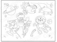 Space scene coloring page