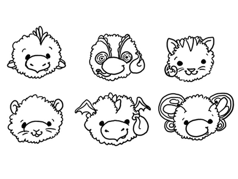 Fuzzy Pets 2 line art illustration children butterfly dragon mouse kitten lizard chicken cartoon animals illustrated cute animals