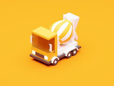 yellow cement truck 3danimation cartoontruck blender2.8 truck yellowtruck yellow 3dtruck blender3d 3dmodeling 3d