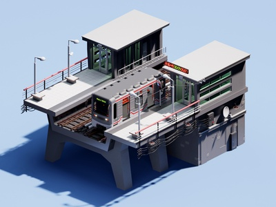 Tbilisi Metro Station I Gotsiridze train railway metrostation metro render isometric blender 3d art cartoon blender3d design 3d