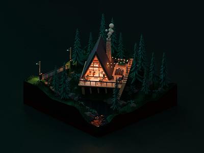 Mountain Cottage / Square segment 3D 3drender 3dcottage 3dmodeling blender3d 3d