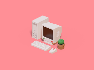 Retro Pc mouse keyboard cactus computer 3danimation animation 3d icon pc