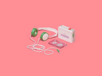 Retro music player design graphicdesign casette pink 3danimation animation 3d icon musicplayer player music