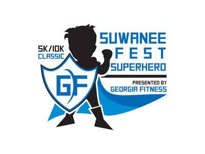Suwanee Fest Superhero fest superhero sport fitness contest vector pictorial illustration pictorial mark design logo