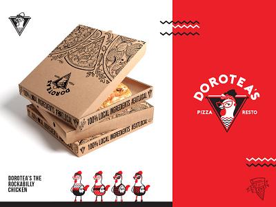 Doroteas Pizza Box pizza box pizza logo pizza logo brand illustration packaging restaurant food branding puertorico